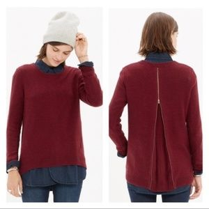 MADEWELL Back Zip Pullover Sweater Brick Red {V23}